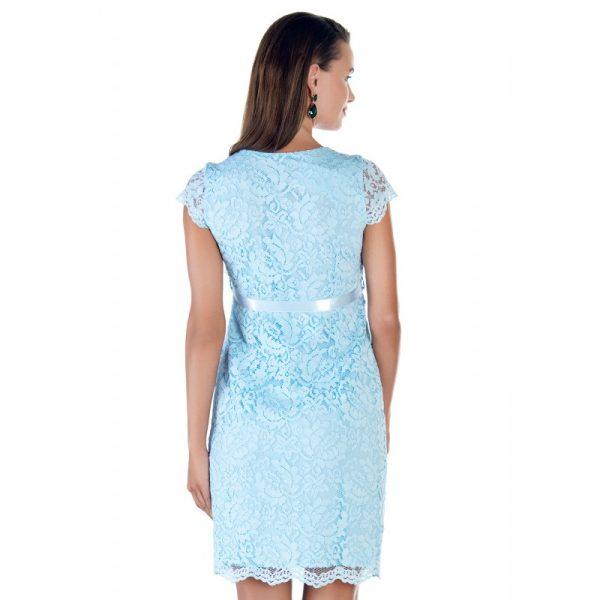 2809 - Baby Shower Lace Maternity Evening Dress Blue Back