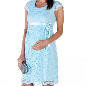 2809 – Baby Shower Lace Maternity Evening Dress Blue zom