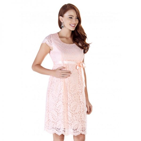 2809 - Baby Shower Lace Maternity Evening Dress Pink Main