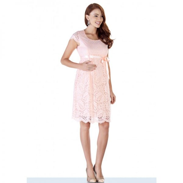 2809 - Baby Shower Lace Maternity Evening Dress Pink all side