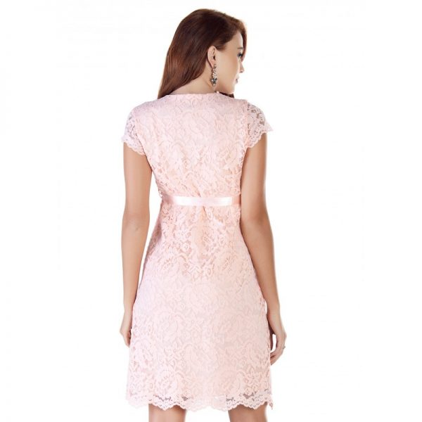 2809 - Baby Shower Lace Maternity Evening Dress Pink back