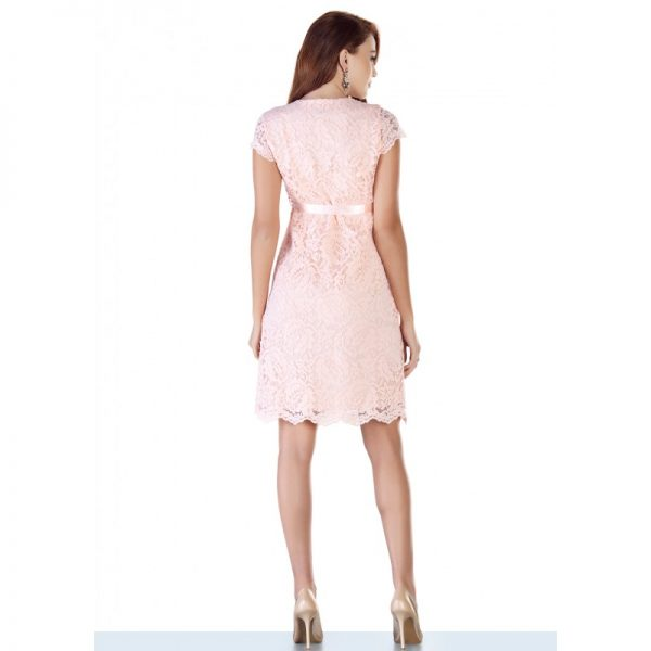 2809 - Baby Shower Lace Maternity Evening Dress Pink back all