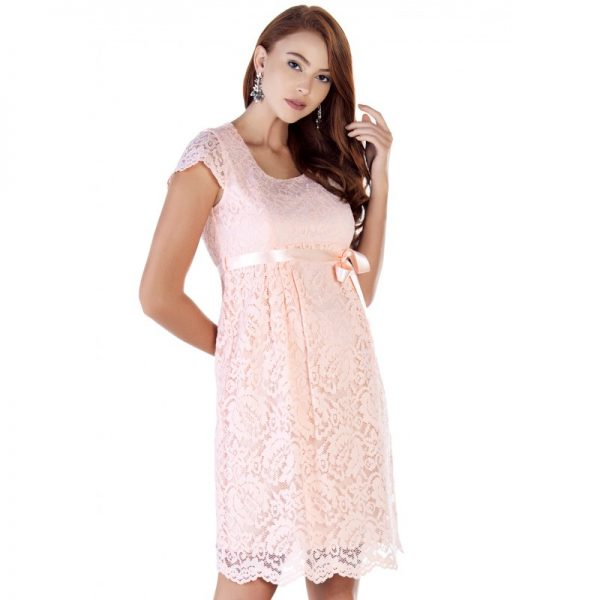 2809 - Baby Shower Lace Maternity Evening Dress Pink fron