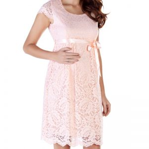 2809 – Baby Shower Lace Maternity Evening Dress Pink zoom