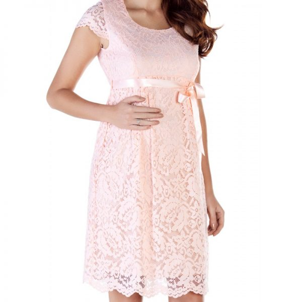 2809 - Baby Shower Lace Maternity Evening Dress Pink zoom