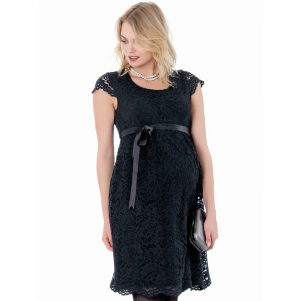 2809 - Lace Maternity Evening Dress Black