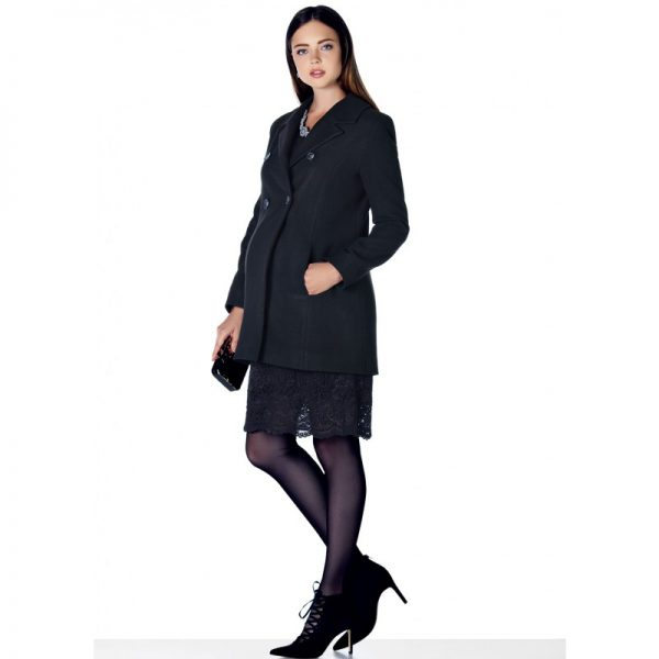 3035 - Black Buttoned Wool Maternity Coat All