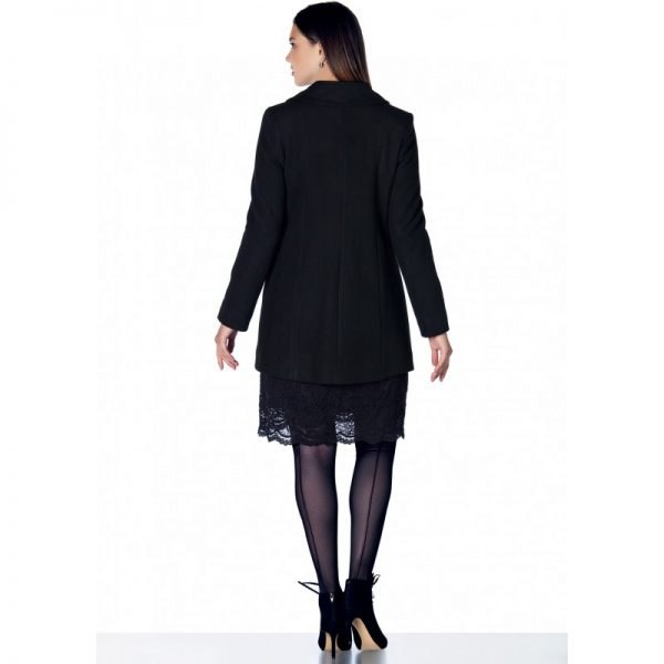 3035 - Black Buttoned Wool Maternity Coat Back