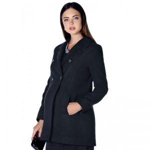 3035 – Black Buttoned Wool Maternity Coat Main