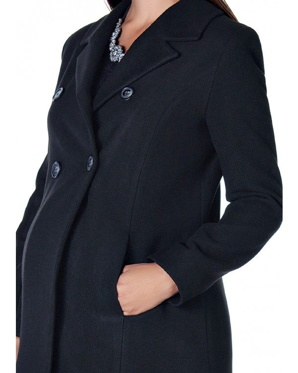 3035 - Black Buttoned Wool Maternity Coat Zoom