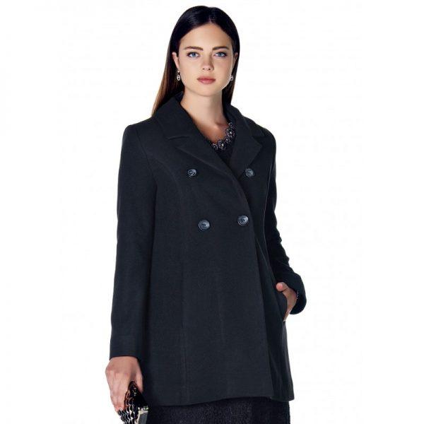 3035 - Black Buttoned Wool Maternity Coat aZoom
