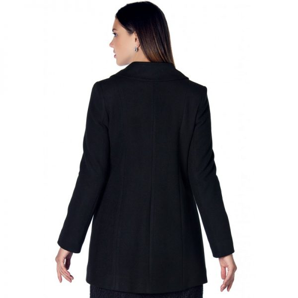 3035 - Black Buttoned Wool Maternity Coat bZoom