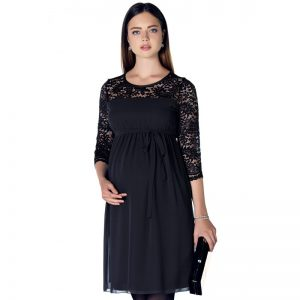 3268 – Chiffon Lace Dress Black Zoom