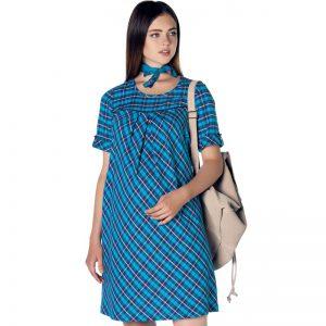 3288 – Plaid Maternity Dress Blue Main