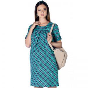 3288 – Plaid Maternity Dress Mint Main