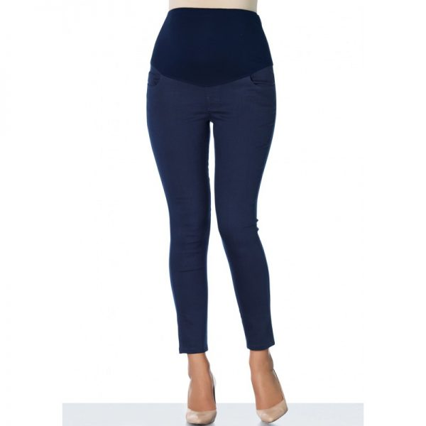 3300 - Ankle Lenght Slim-Fit Maternity Pants Navy Front