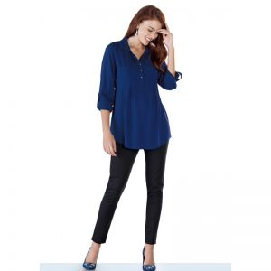 3533 Indigo Maternity Blouse High
