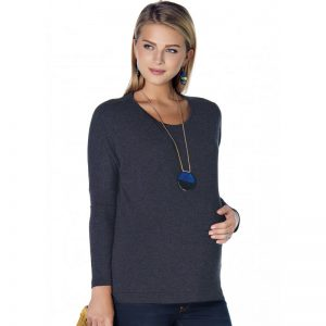E17-3327 – Maternity Blouse Dark Grey Main