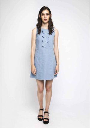 SP18HAN71 – Blue Cowboy Dress With Lace