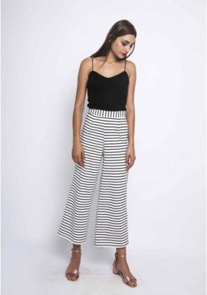 SP18HAN86 – Blue Striped White Pants Main