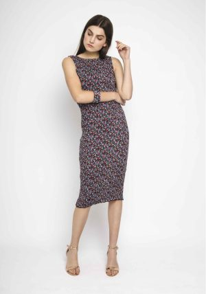 SP18PIC11 – Black Fitted Dress Flowers Main